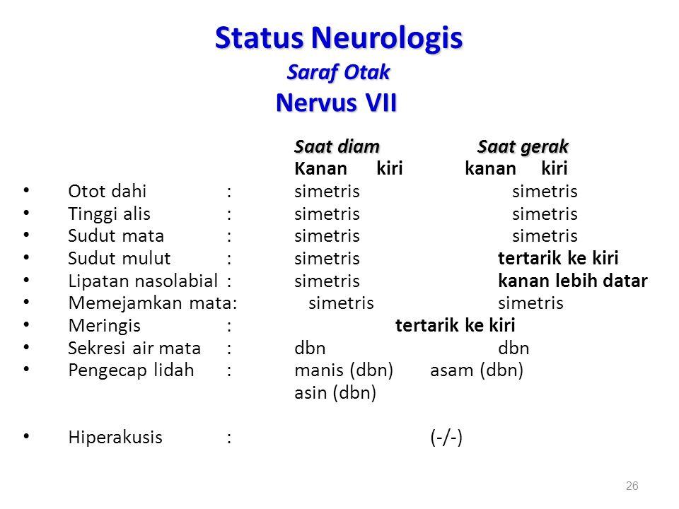 Status Neurologis Saraf Otak Nervus VII Saat diam Saat gerak Kanan kiri kanan kiri Otot dahi:simetris simetris Tinggi alis:simetris simetris Sudut mat