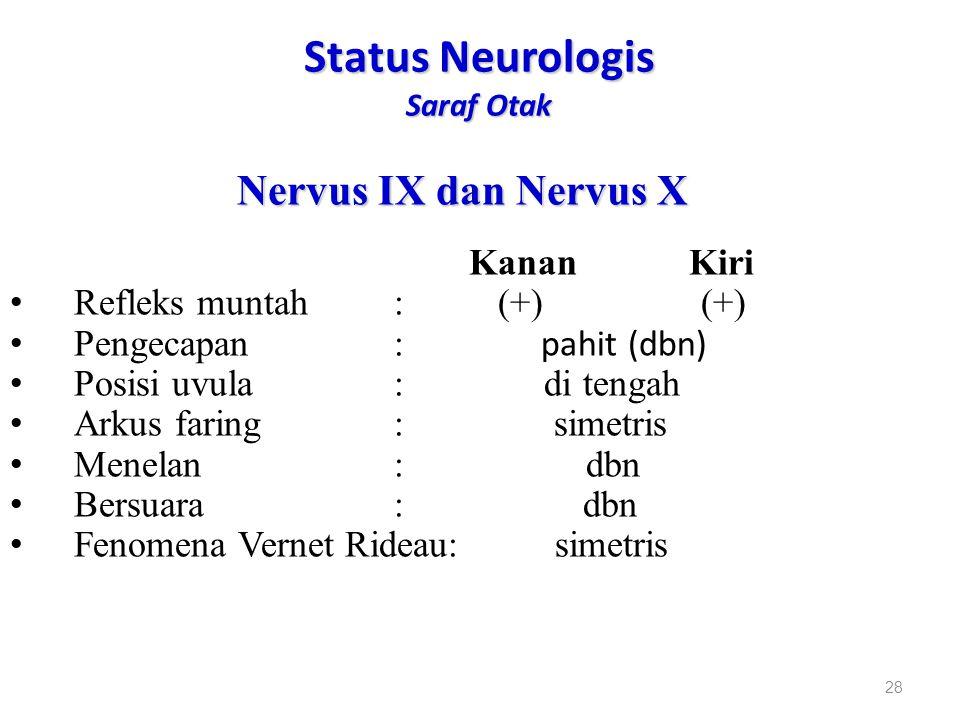 Status Neurologis Saraf Otak Nervus IX dan Nervus X Kanan Kiri Refleks muntah: (+) (+) Pengecapan: pahit (dbn) Posisi uvula: di tengah Arkus faring: s