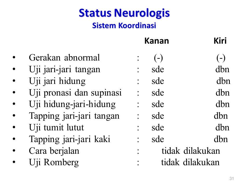 Status Neurologis Sistem Koordinasi Kanan Kiri Gerakan abnormal: (-) (-) Uji jari-jari tangan: sde dbn Uji jari hidung: sde dbn Uji pronasi dan supina
