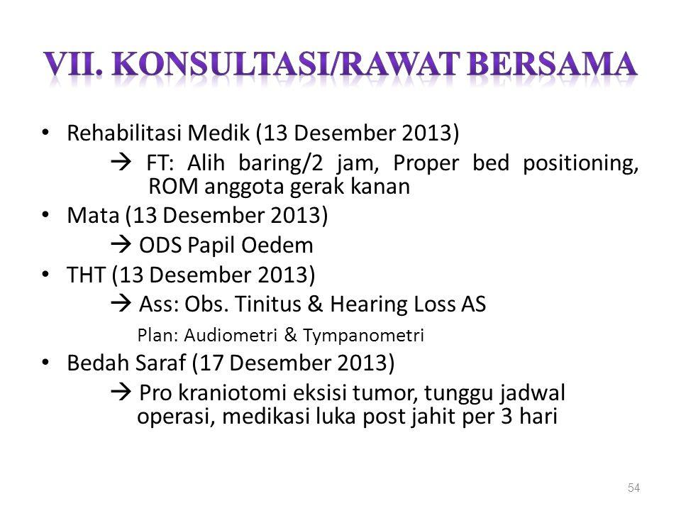 Rehabilitasi Medik (13 Desember 2013)  FT: Alih baring/2 jam, Proper bed positioning, ROM anggota gerak kanan Mata (13 Desember 2013)  ODS Papil Oed