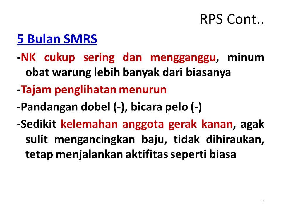 RPS Cont.. 5 Bulan SMRS -NK cukup sering dan mengganggu, minum obat warung lebih banyak dari biasanya -Tajam penglihatan menurun -Pandangan dobel (-),