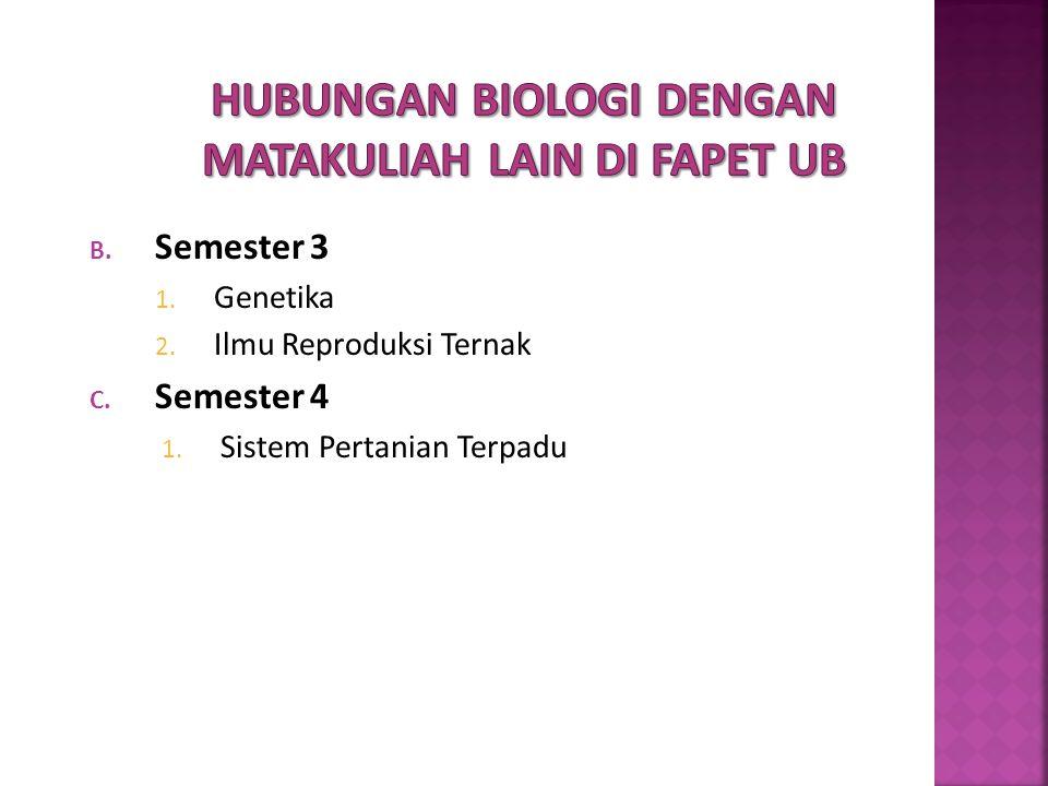 B. Semester 3 1. Genetika 2. Ilmu Reproduksi Ternak C. Semester 4 1. Sistem Pertanian Terpadu