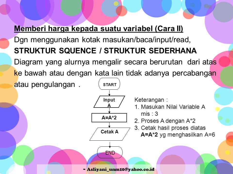 Memberi harga kepada suatu variabel (Cara II) Dgn menggunakan kotak masukan/baca/input/read, STRUKTUR SQUENCE / STRUKTUR SEDERHANA Diagram yang alurnya mengalir secara berurutan dari atas ke bawah atau dengan kata lain tidak adanya percabangan atau pengulangan.