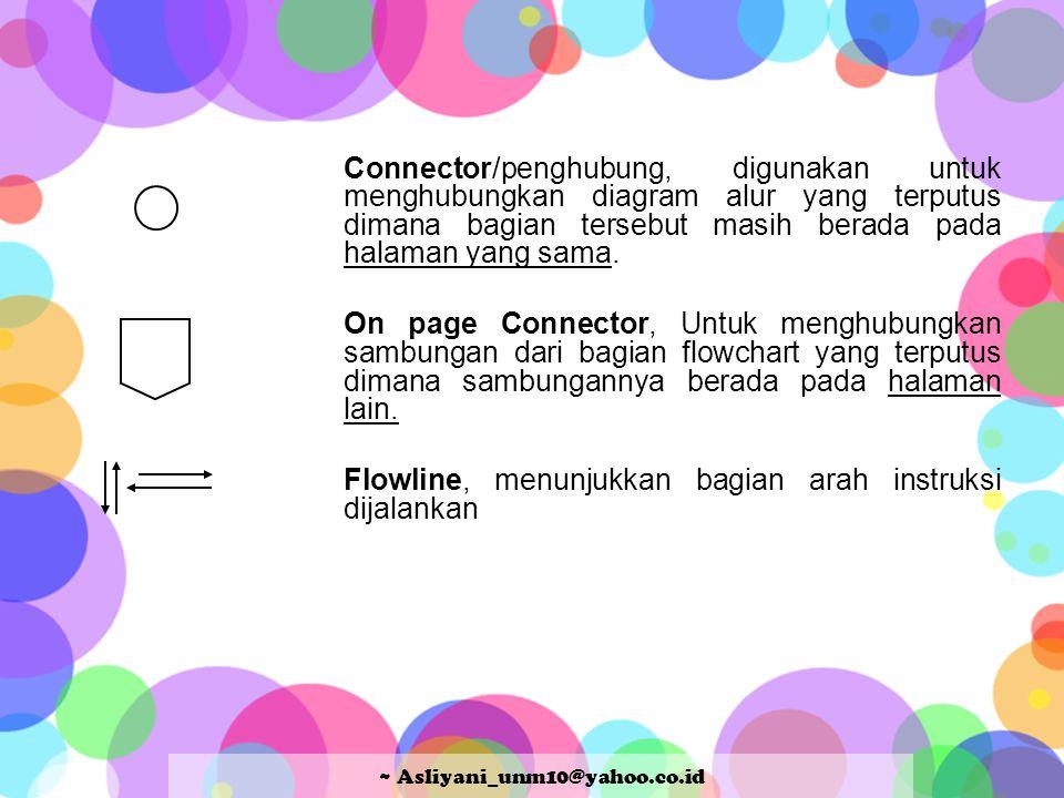 Connector/penghubung, digunakan untuk menghubungkan diagram alur yang terputus dimana bagian tersebut masih berada pada halaman yang sama. On page Con