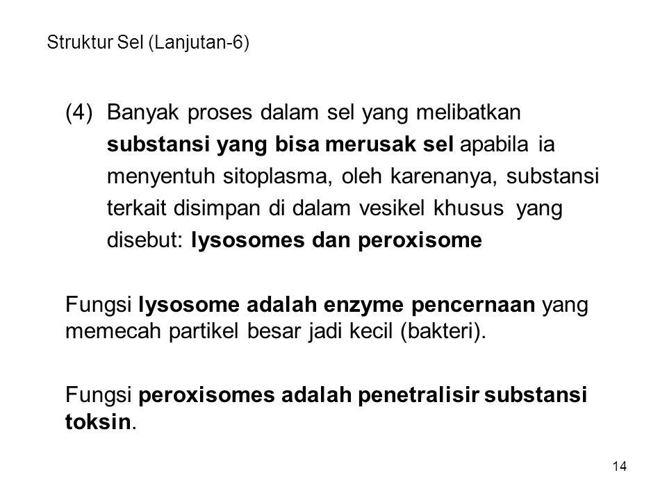 14 Struktur Sel (Lanjutan-6) (4)Banyak proses dalam sel yang melibatkan substansi yang bisa merusak sel apabila ia menyentuh sitoplasma, oleh karenany