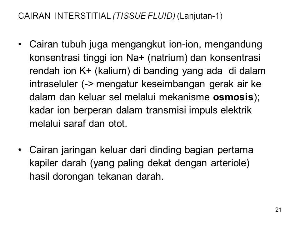 21 CAIRAN INTERSTITIAL (TISSUE FLUID) (Lanjutan-1) Cairan tubuh juga mengangkut ion-ion, mengandung konsentrasi tinggi ion Na+ (natrium) dan konsentra