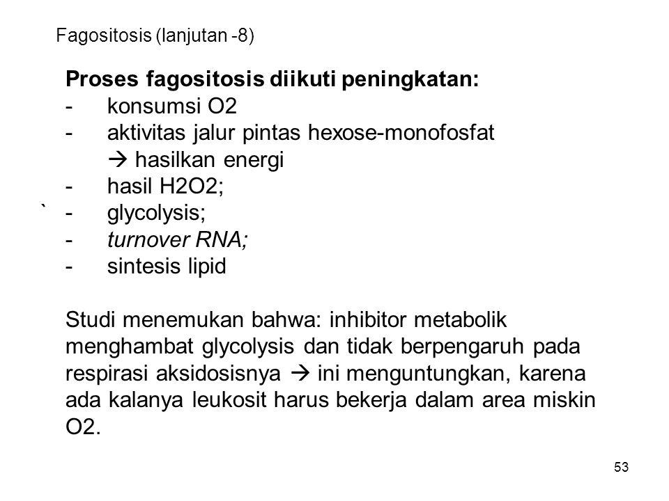 53 Fagositosis (lanjutan -8) Proses fagositosis diikuti peningkatan: -konsumsi O2 -aktivitas jalur pintas hexose-monofosfat  hasilkan energi -hasil H