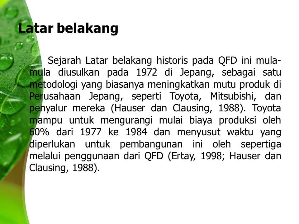Latar belakang Sejarah Latar belakang historis pada QFD ini mula- mula diusulkan pada 1972 di Jepang, sebagai satu metodologi yang biasanya meningkatkan mutu produk di Perusahaan Jepang, seperti Toyota, Mitsubishi, dan penyalur mereka (Hauser dan Clausing, 1988).