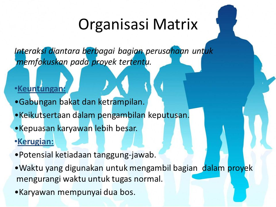 Organisasi Matrix Interaksi diantara berbagai bagian perusahaan untuk memfokuskan pada proyek tertentu. Keuntungan: Gabungan bakat dan ketrampilan. Ke