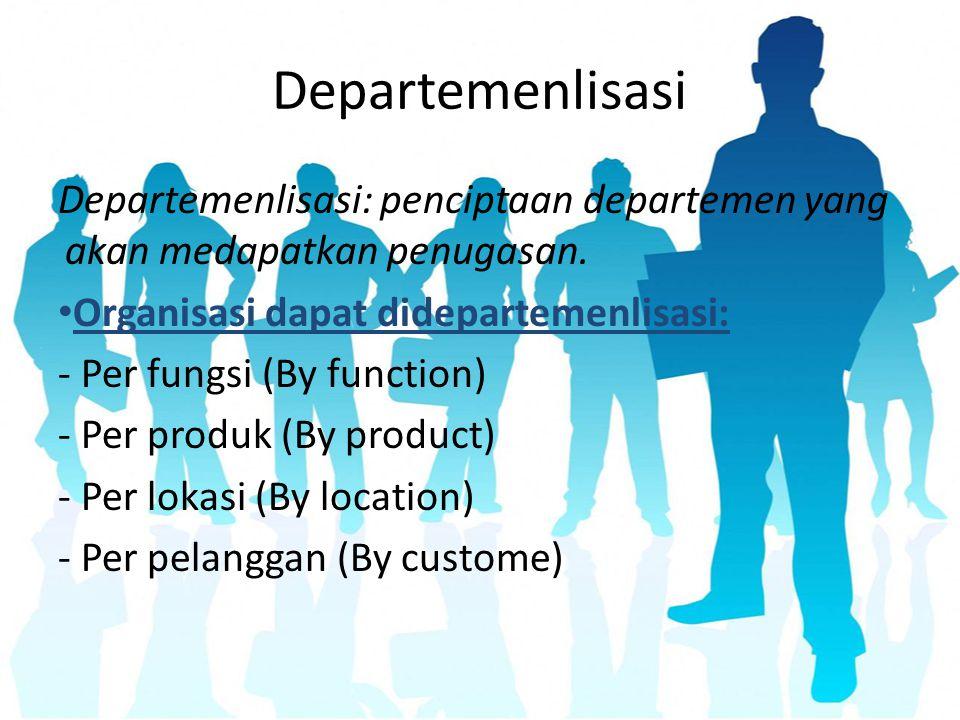 Departemenlisasi Departemenlisasi: penciptaan departemen yang akan medapatkan penugasan. Organisasi dapat didepartemenlisasi: - Per fungsi (By functio