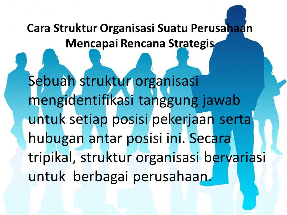 Cara Struktur Organisasi Suatu Perusahaan Mencapai Rencana Strategis Sebuah struktur organisasi mengidentifikasi tanggung jawab untuk setiap posisi pe
