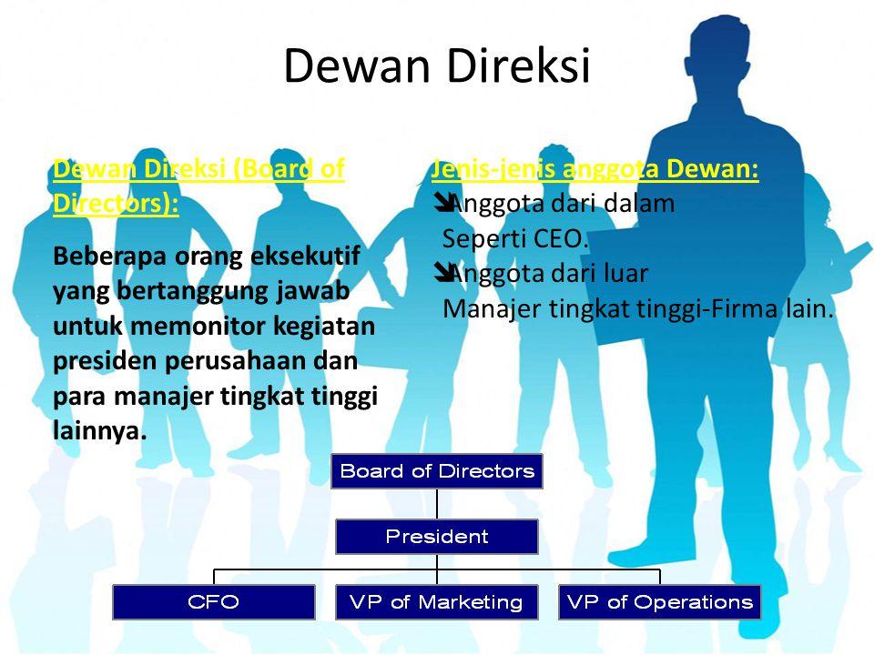Dewan Direksi Jenis-jenis anggota Dewan:  Anggota dari dalam Seperti CEO.  Anggota dari luar Manajer tingkat tinggi-Firma lain. Dewan Direksi (Board
