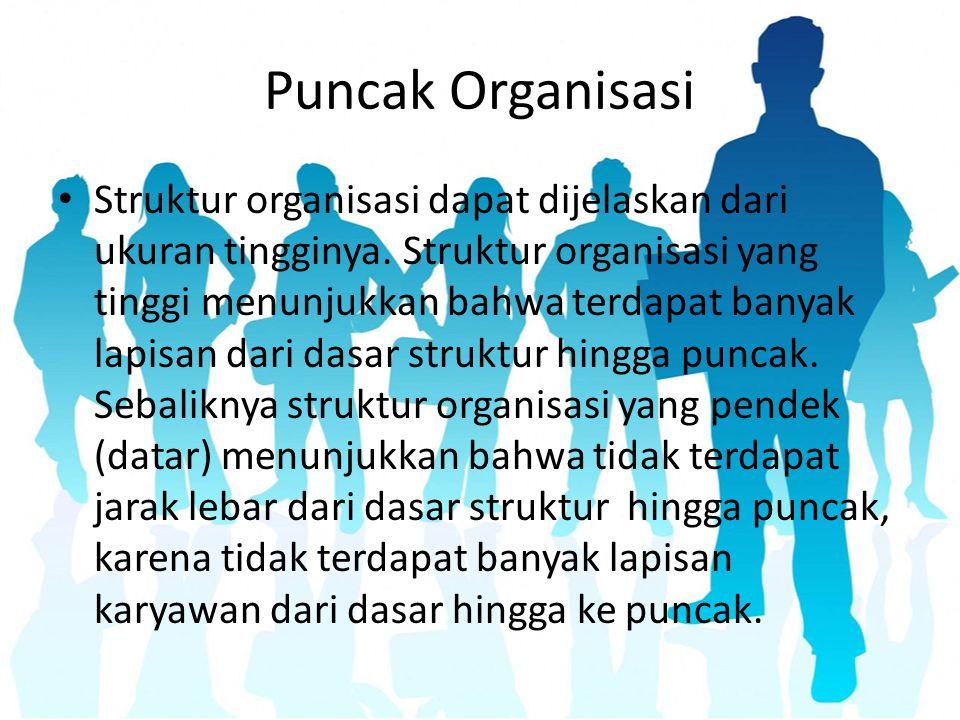 Puncak Organisasi Struktur organisasi dapat dijelaskan dari ukuran tingginya. Struktur organisasi yang tinggi menunjukkan bahwa terdapat banyak lapisa
