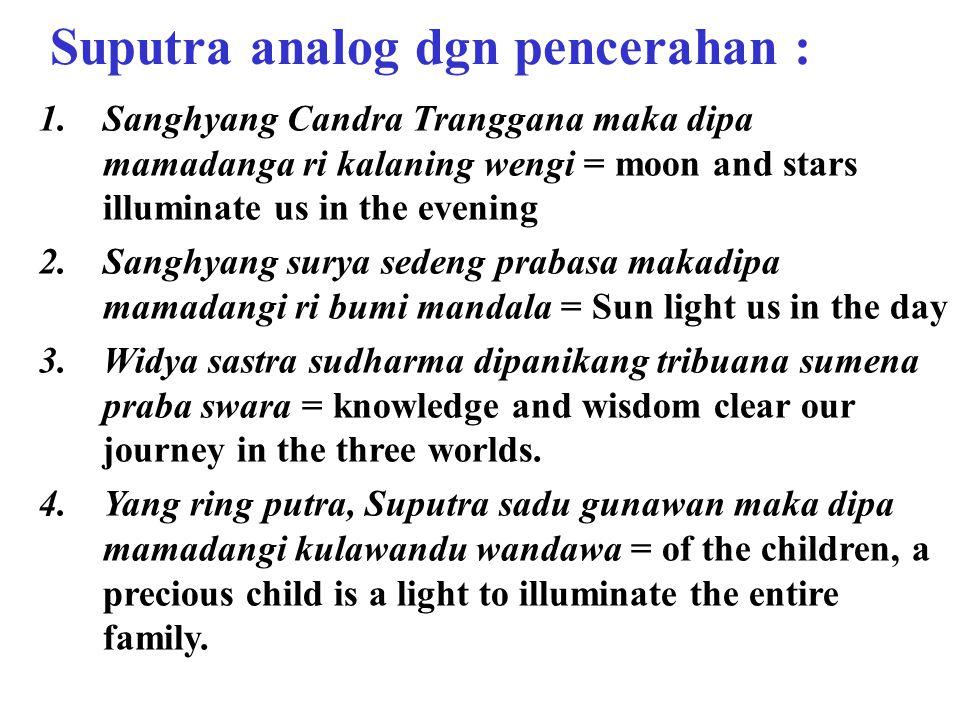 NILAI SUPUTRA DLM SASTRA The significant of Precious Child Recited in Sinom poetry: Kotaman putra suputra = the role of precious child Ngawe werdianin