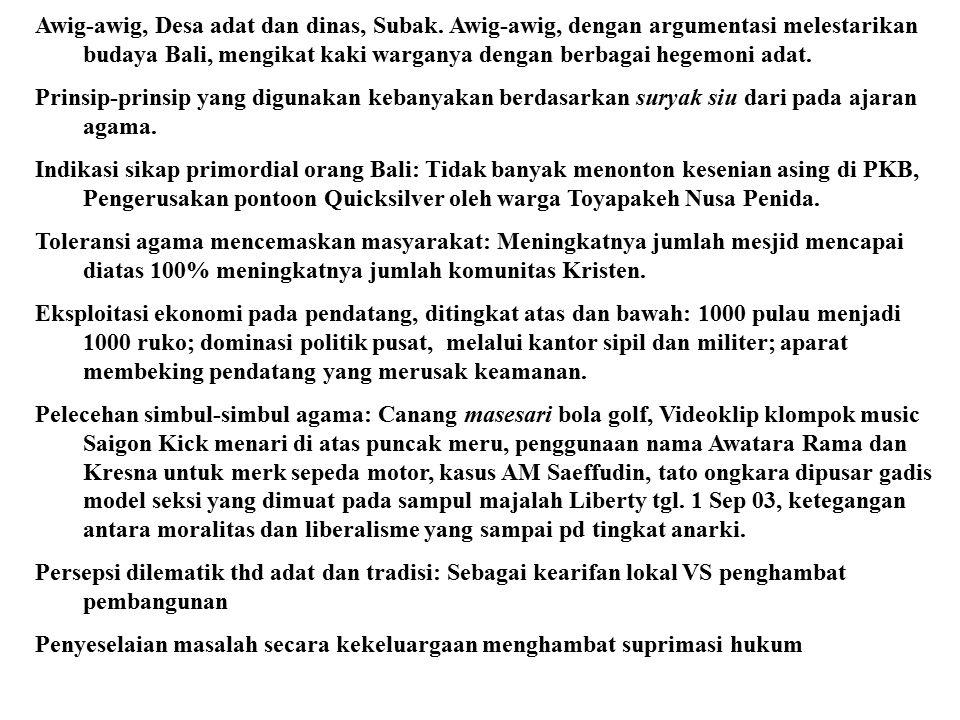 3. U U Otonomi Daerah No 22 th 1999: Perda Bali No 3, th 2001 mengenai Desa pakraman, Konsep Desa Adat diganti dengan Desa Pakraman. Dari sebuah komun