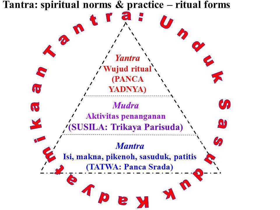 Tantra: spiritual norms & practice – ritual forms Mudra Aktivitas penanganan (SUSILA: Trikaya Parisuda) Yantra Wujud ritual (PANCA YADNYA) Mantra Isi, makna, pikenoh, sasuduk, patitis (TATWA: Panca Srada)