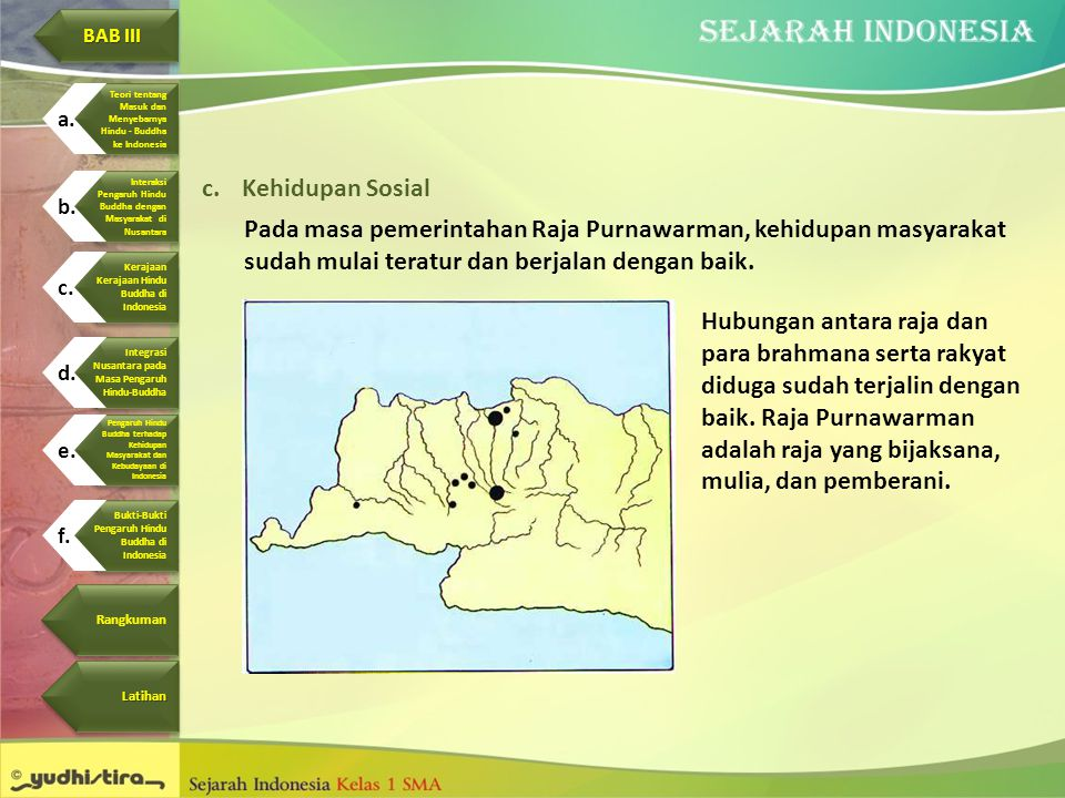 c.Kehidupan Sosial Pada masa pemerintahan Raja Purnawarman, kehidupan masyarakat sudah mulai teratur dan berjalan dengan baik. Hubungan antara raja da
