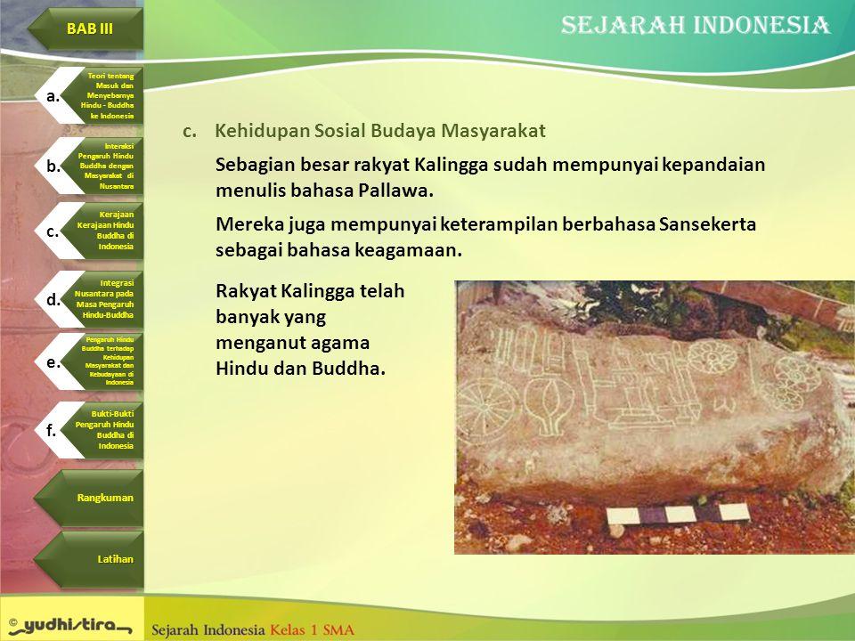 c.Kehidupan Sosial Budaya Masyarakat Sebagian besar rakyat Kalingga sudah mempunyai kepandaian menulis bahasa Pallawa. Mereka juga mempunyai keterampi