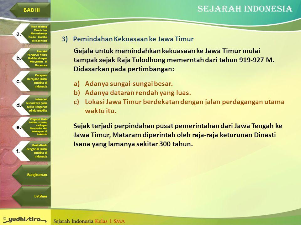 3)Pemindahan Kekuasaan ke Jawa Timur Gejala untuk memindahkan kekuasaan ke Jawa Timur mulai tampak sejak Raja Tulodhong memerntah dari tahun 919-927 M
