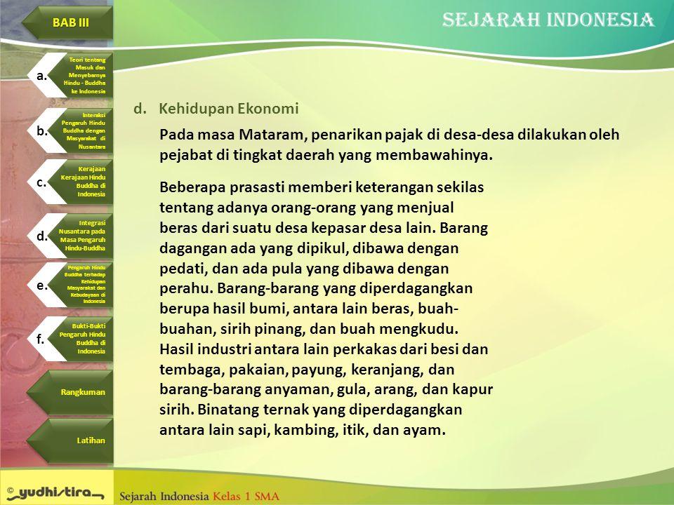 d.Kehidupan Ekonomi Pada masa Mataram, penarikan pajak di desa-desa dilakukan oleh pejabat di tingkat daerah yang membawahinya. Beberapa prasasti memb