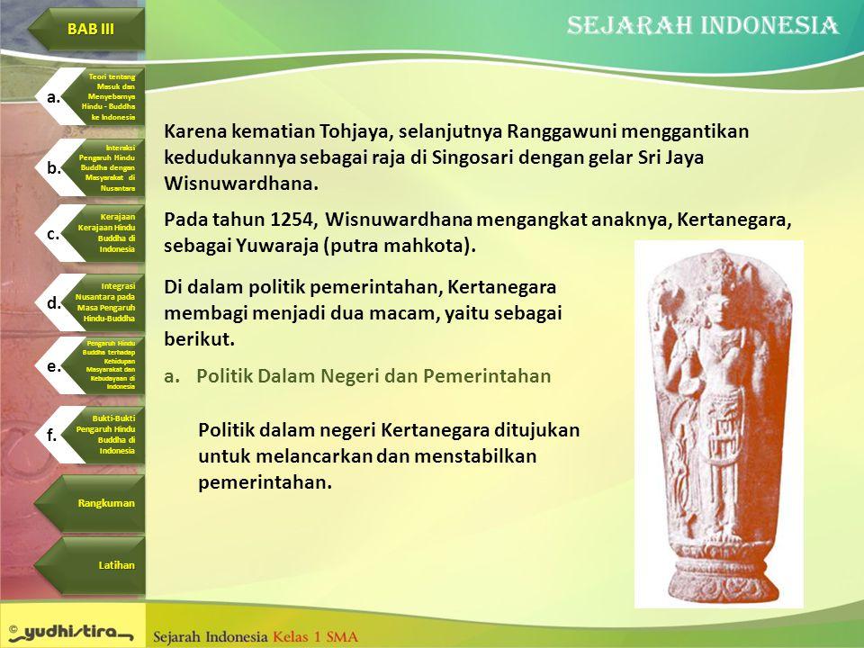 Karena kematian Tohjaya, selanjutnya Ranggawuni menggantikan kedudukannya sebagai raja di Singosari dengan gelar Sri Jaya Wisnuwardhana. Pada tahun 12