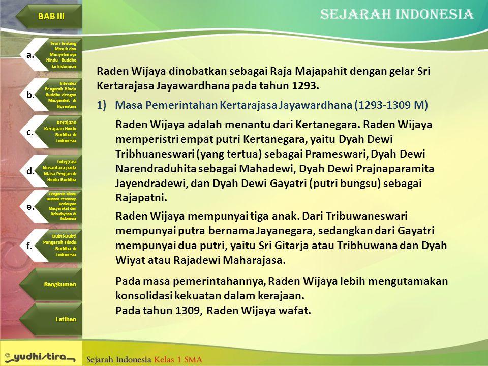 Raden Wijaya dinobatkan sebagai Raja Majapahit dengan gelar Sri Kertarajasa Jayawardhana pada tahun 1293. 1)Masa Pemerintahan Kertarajasa Jayawardhana