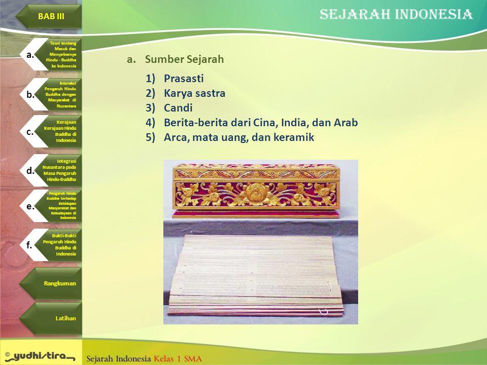 a.Sumber Sejarah 1)Prasasti 2)Karya sastra 3)Candi 4)Berita-berita dari Cina, India, dan Arab 5)Arca, mata uang, dan keramik BAB III BAB III BAB III B