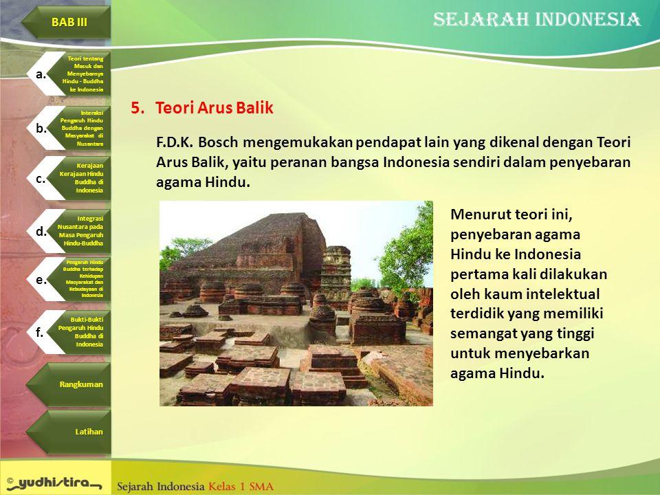 5.Teori Arus Balik F.D.K. Bosch mengemukakan pendapat lain yang dikenal dengan Teori Arus Balik, yaitu peranan bangsa Indonesia sendiri dalam penyebar