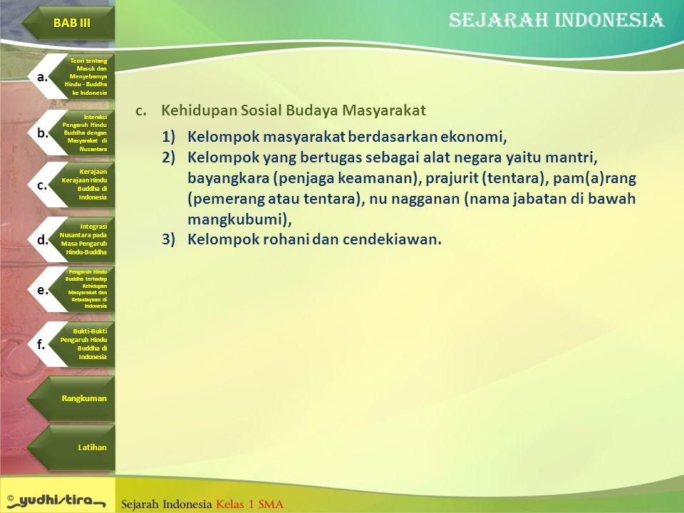 c.Kehidupan Sosial Budaya Masyarakat 1)Kelompok masyarakat berdasarkan ekonomi, 2)Kelompok yang bertugas sebagai alat negara yaitu mantri, bayangkara