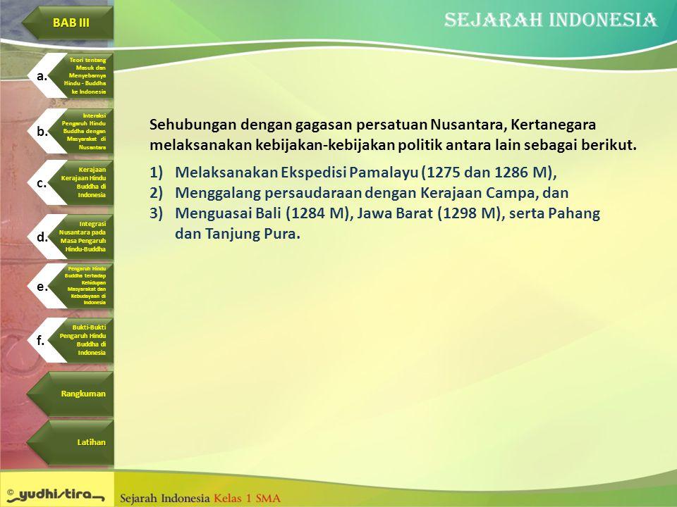 Sehubungan dengan gagasan persatuan Nusantara, Kertanegara melaksanakan kebijakan-kebijakan politik antara lain sebagai berikut. 1)Melaksanakan Eksped