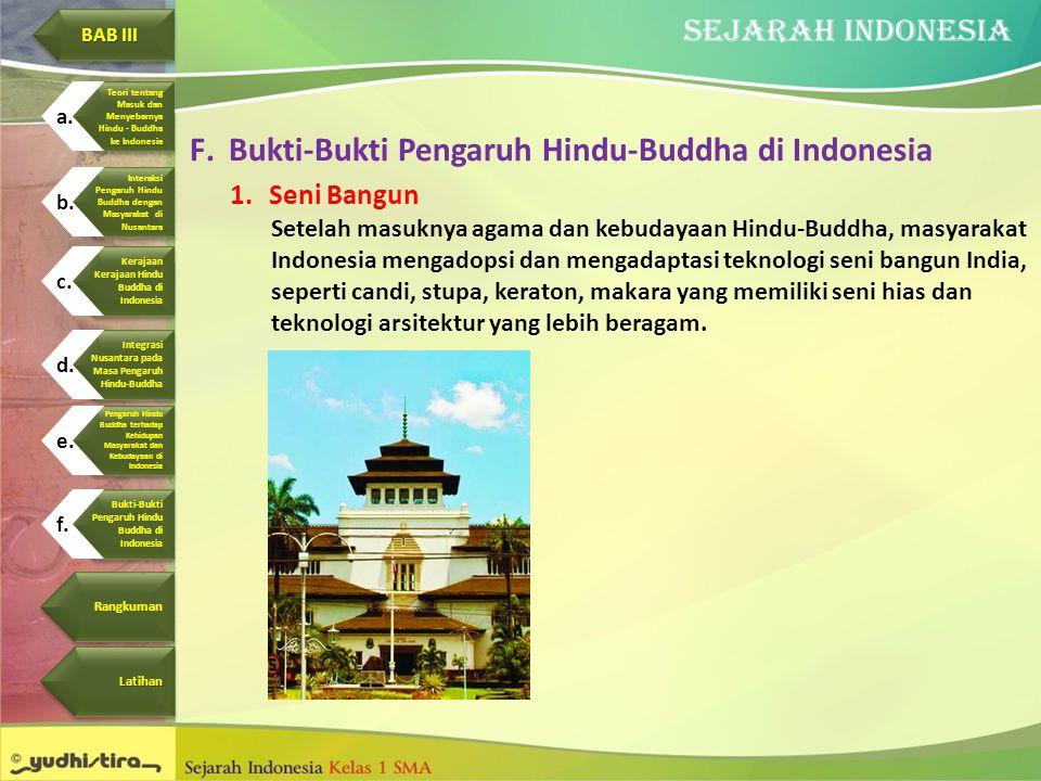 F.Bukti-Bukti Pengaruh Hindu-Buddha di Indonesia 1.Seni Bangun Setelah masuknya agama dan kebudayaan Hindu-Buddha, masyarakat Indonesia mengadopsi dan