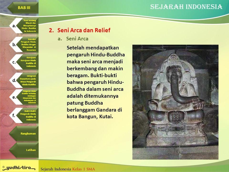 2.Seni Arca dan Relief a.Seni Arca Setelah mendapatkan pengaruh Hindu-Buddha maka seni arca menjadi berkembang dan makin beragam. Bukti-bukti bahwa pe