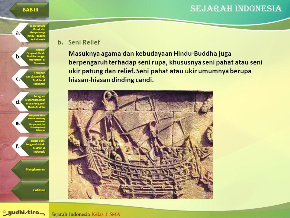 b.Seni Relief Masuknya agama dan kebudayaan Hindu-Buddha juga berpengaruh terhadap seni rupa, khususnya seni pahat atau seni ukir patung dan relief. S
