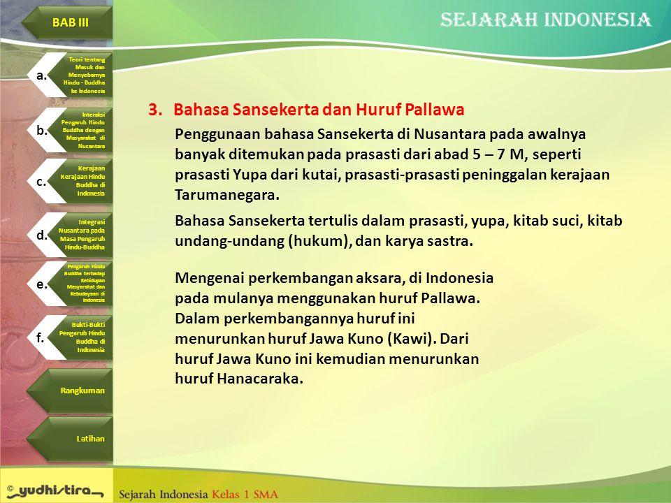 3.Bahasa Sansekerta dan Huruf Pallawa Penggunaan bahasa Sansekerta di Nusantara pada awalnya banyak ditemukan pada prasasti dari abad 5 – 7 M, seperti
