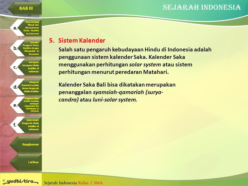 5.Sistem Kalender Salah satu pengaruh kebudayaan Hindu di Indonesia adalah penggunaan sistem kalender Saka. Kalender Saka menggunakan perhitungan sola