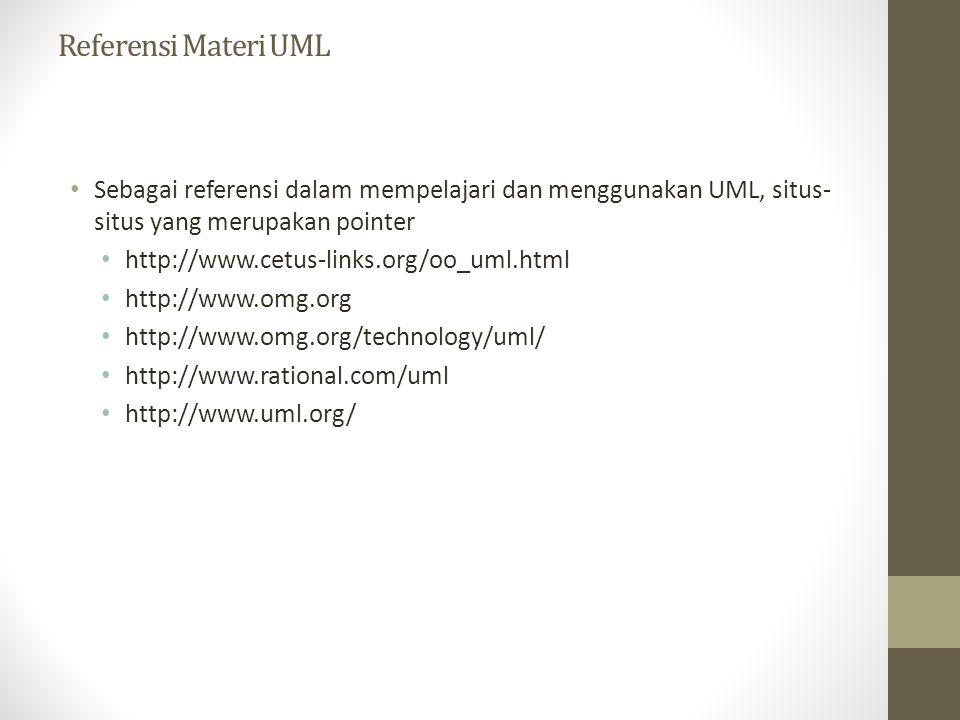 Referensi Materi UML Sebagai referensi dalam mempelajari dan menggunakan UML, situs- situs yang merupakan pointer http://www.cetus-links.org/oo_uml.ht