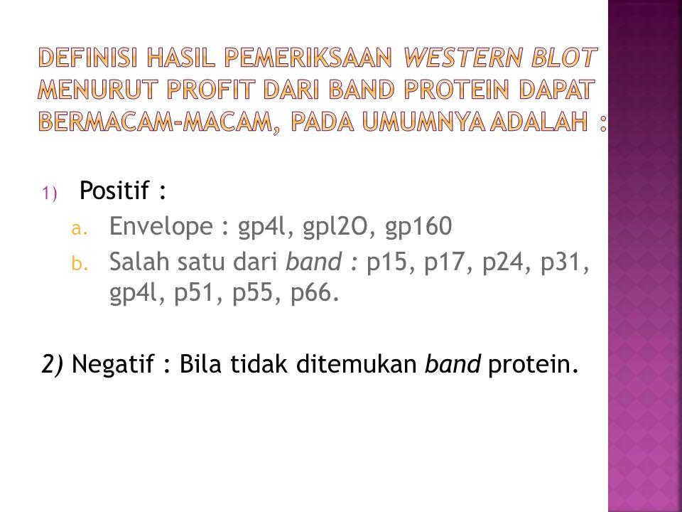 1) Positif : a. Envelope : gp4l, gpl2O, gp160 b. Salah satu dari band : p15, p17, p24, p31, gp4l, p51, p55, p66. 2) Negatif : Bila tidak ditemukan ban