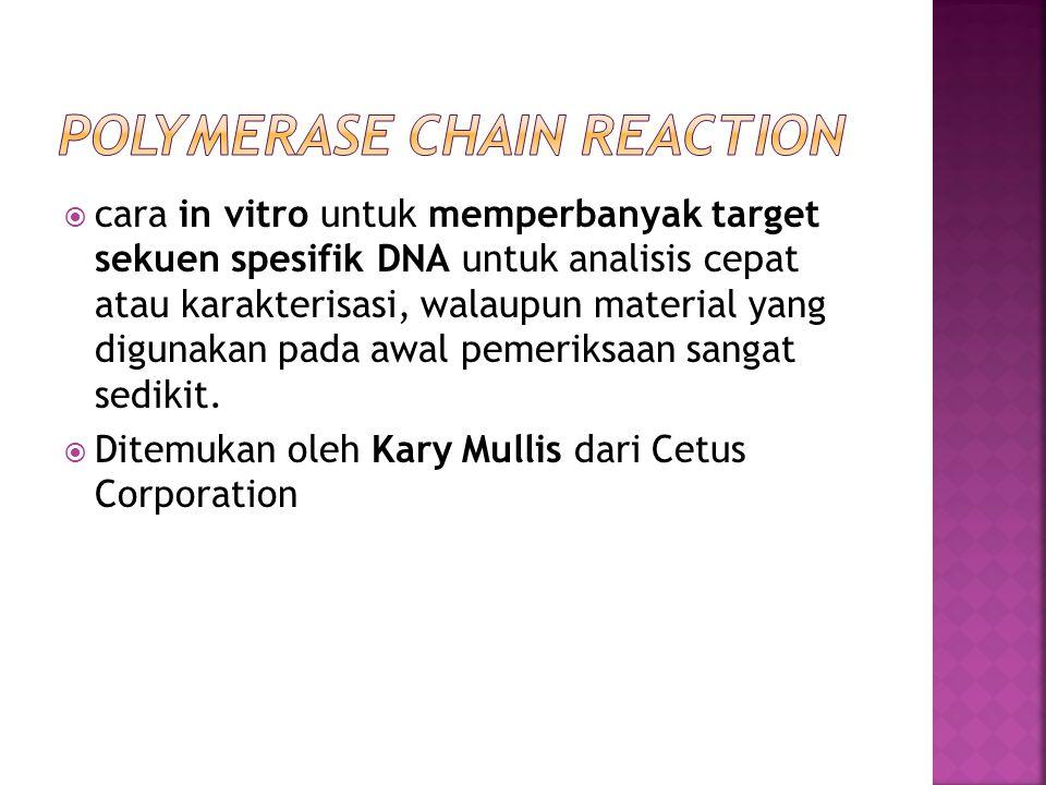  cara in vitro untuk memperbanyak target sekuen spesifik DNA untuk analisis cepat atau karakterisasi, walaupun material yang digunakan pada awal peme