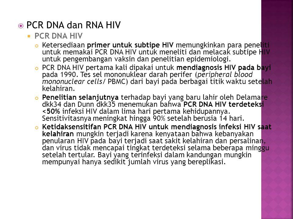  PCR DNA dan RNA HIV  PCR DNA HIV Ketersediaan primer untuk subtipe HIV memungkinkan para peneliti untuk memakai PCR DNA HIV untuk meneliti dan mela