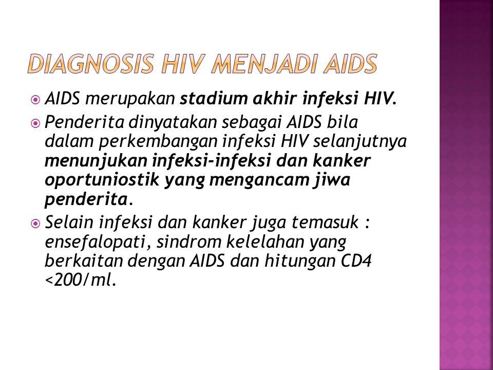  AIDS merupakan stadium akhir infeksi HIV.  Penderita dinyatakan sebagai AIDS bila dalam perkembangan infeksi HIV selanjutnya menunjukan infeksi-inf