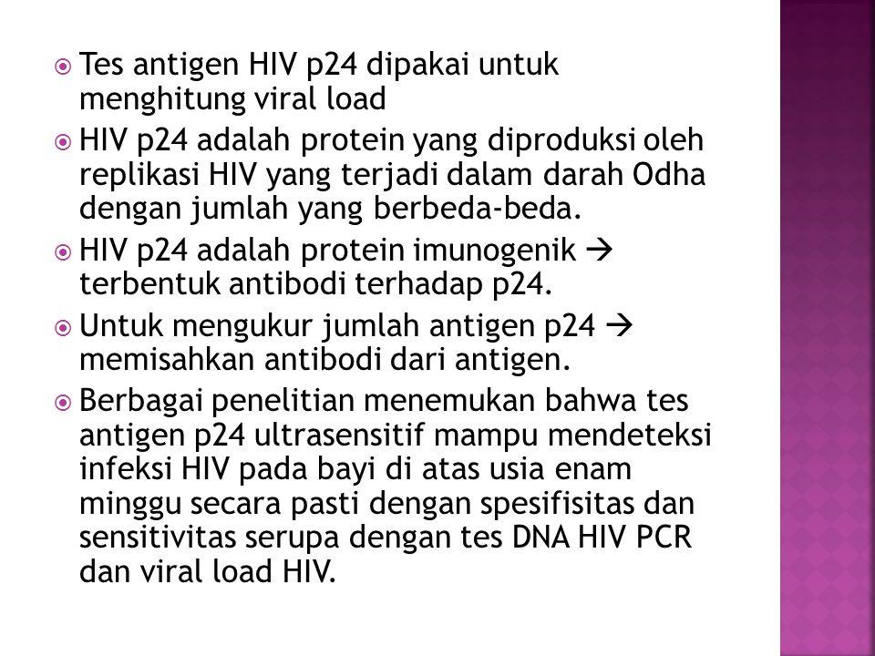  Tes antigen HIV p24 dipakai untuk menghitung viral load  HIV p24 adalah protein yang diproduksi oleh replikasi HIV yang terjadi dalam darah Odha de