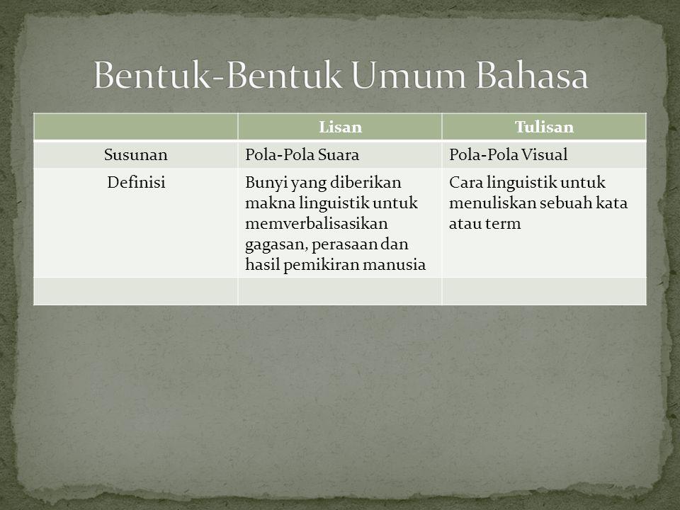 LisanTulisan SusunanPola-Pola SuaraPola-Pola Visual DefinisiBunyi yang diberikan makna linguistik untuk memverbalisasikan gagasan, perasaan dan hasil