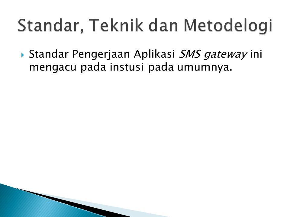  Standar Pengerjaan Aplikasi SMS gateway ini mengacu pada instusi pada umumnya.