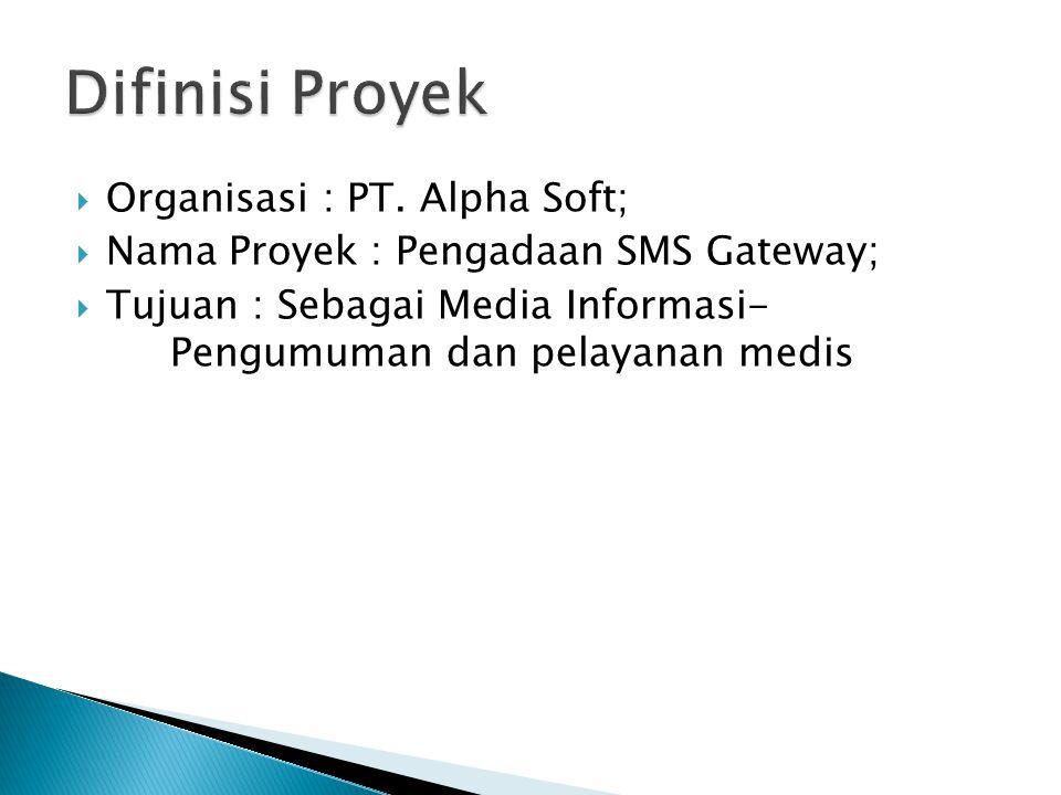  Organisasi : PT. Alpha Soft;  Nama Proyek : Pengadaan SMS Gateway;  Tujuan : Sebagai Media Informasi- Pengumuman dan pelayanan medis