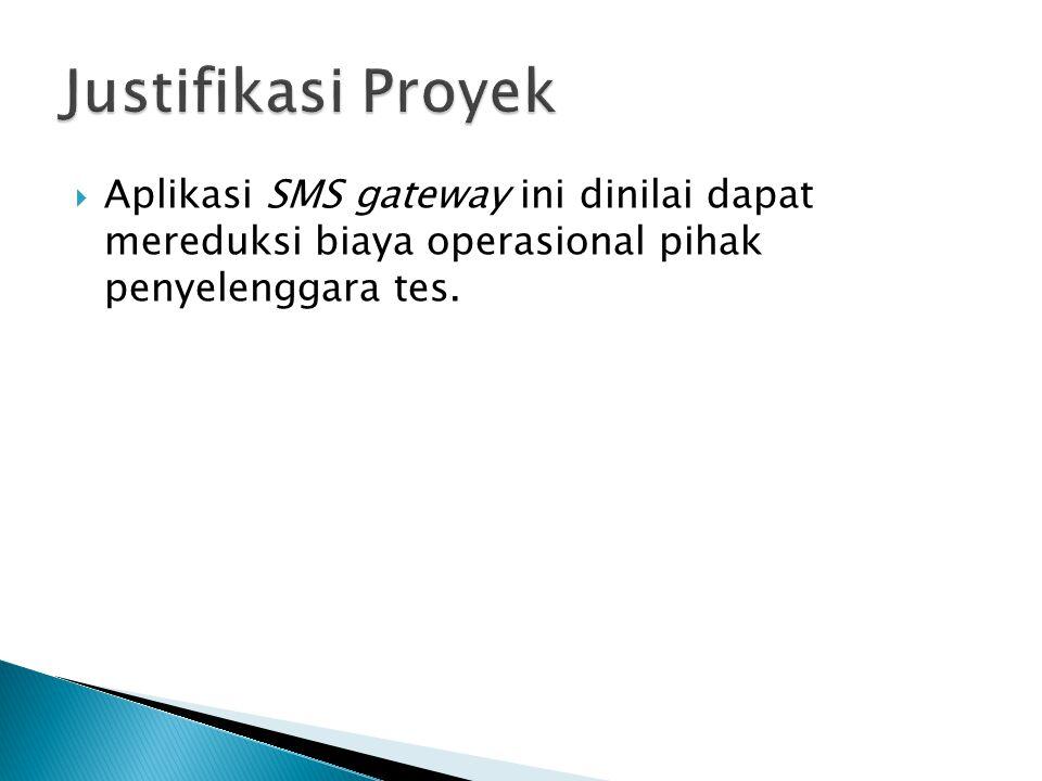  Aplikasi SMS gateway ini dinilai dapat mereduksi biaya operasional pihak penyelenggara tes.