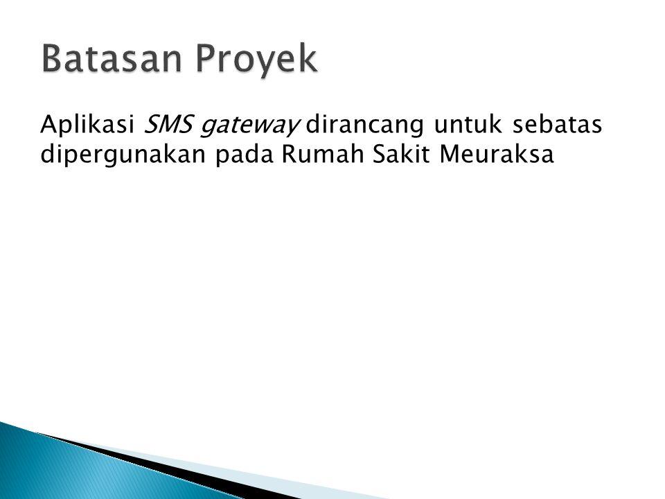 Aplikasi SMS gateway dirancang untuk sebatas dipergunakan pada Rumah Sakit Meuraksa