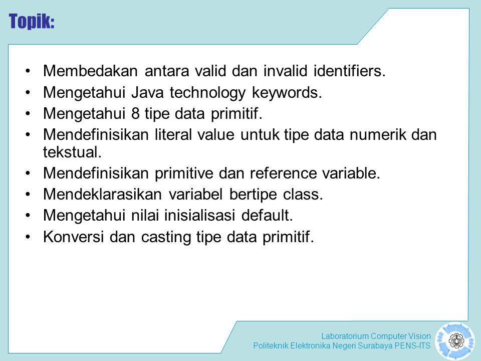 Laboratorium Computer Vision Politeknik Elektronika Negeri Surabaya PENS-ITS Primitive Conversion: Assignment Terjadi ketika suatu nilai kita berikan pada suatu variabel yang tipe datanya berbeda dari data aslinya.