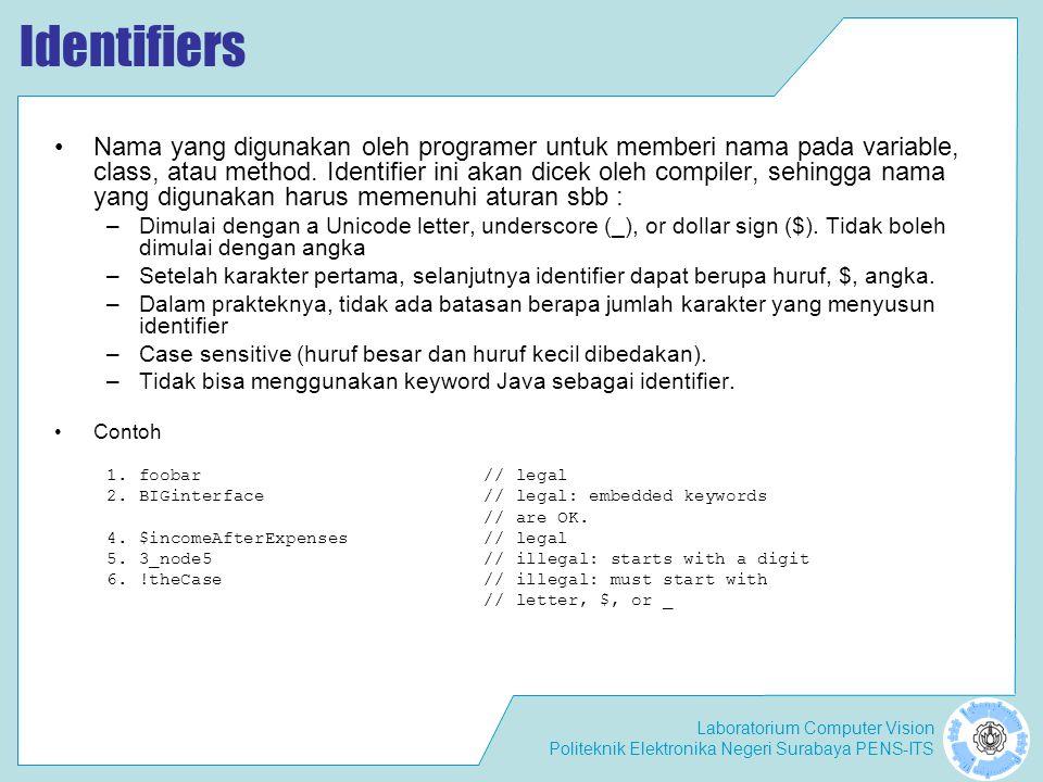 Laboratorium Computer Vision Politeknik Elektronika Negeri Surabaya PENS-ITS Java Keywords and Reserved Words Java Keywords sering disebut juga sebagai reserved keywords Tidak dapat digunakan sebagai identifier.