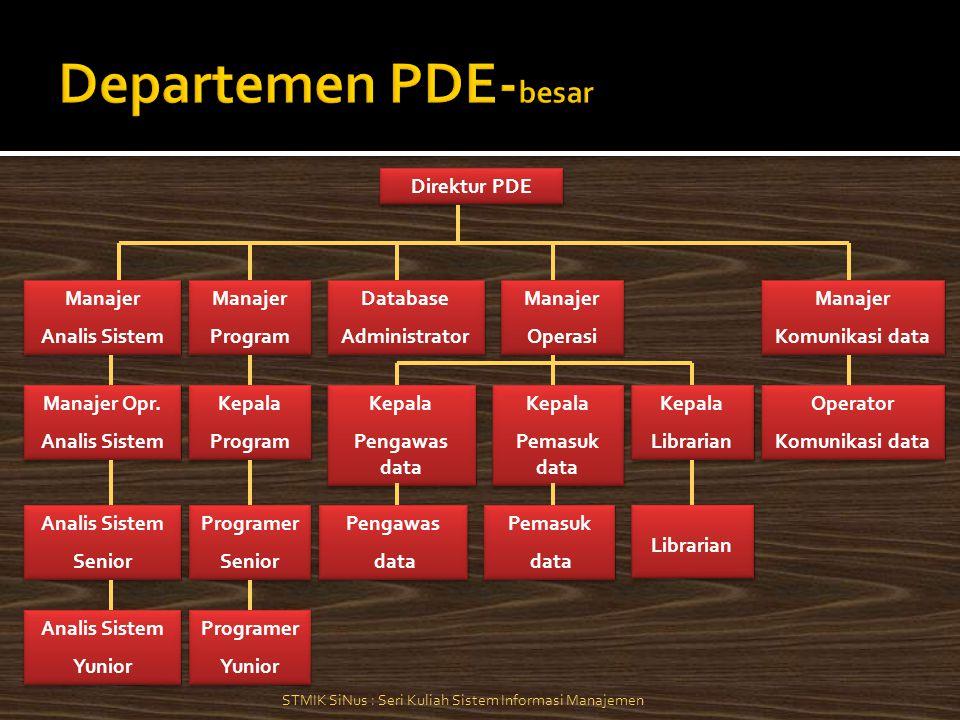 Manajer Analis Sistem Manajer Analis Sistem Direktur PDE Manajer Program Manajer Program Database Administrator Database Administrator Manajer Operasi Manajer Operasi Manajer Komunikasi data Manajer Komunikasi data Manajer Opr.