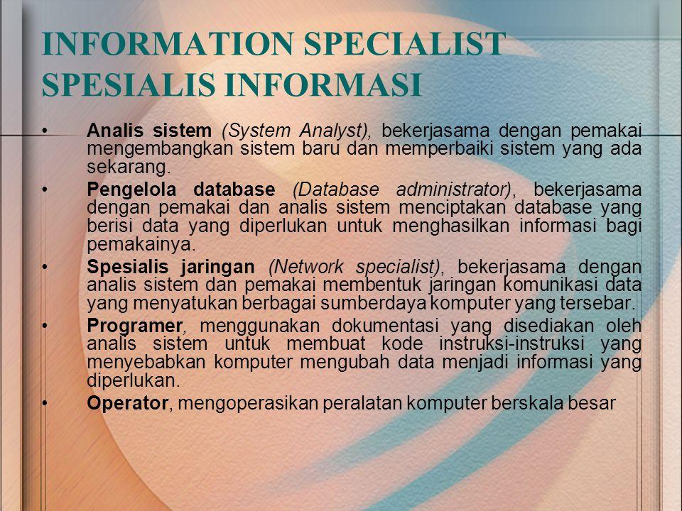 Analis sistem (System Analyst), bekerjasama dengan pemakai mengembangkan sistem baru dan memperbaiki sistem yang ada sekarang. Pengelola database (Dat